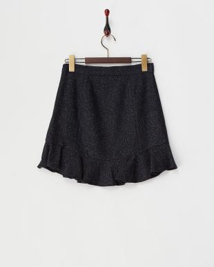 ネイビー  ツイード裾フリル切り替えスカート見る