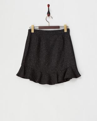 ブラック  ツイード裾フリル切り替えスカート見る
