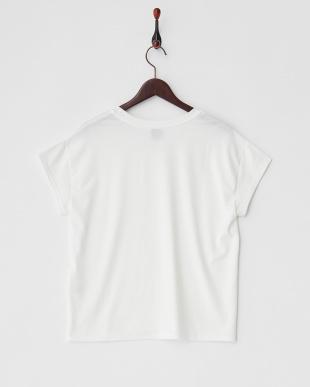オフホワイト ワンポイント刺繍ストレッチTシャツ見る