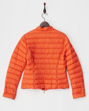 オレンジ 無地×プリントダウン入りジャケット見る