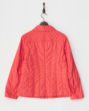 レッド キルティング中綿入りジャケット見る