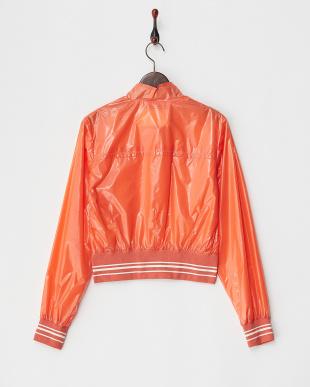 オレンジ リブ切り替えビニール調光沢ジャケット見る