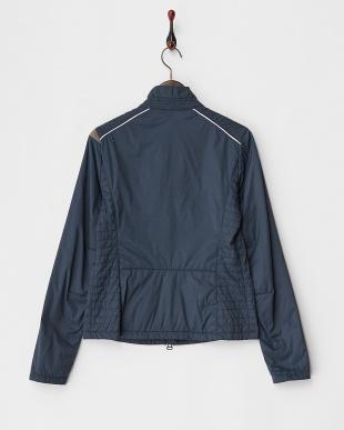 ネイビー  サイドキルティング配色中綿入りジャケット見る