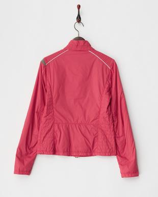 レッド  サイドキルティング配色中綿入りジャケット見る