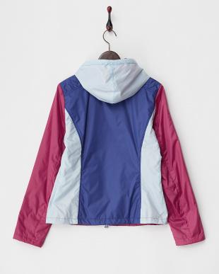 ブルー系 フード付き3配色中綿入りジャケット見る