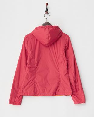 レッド 配色フード付き中綿入りジャケット見る