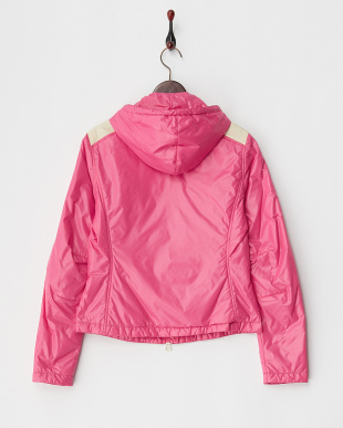 ピンク  肩切り替えフード付き中綿入りジャケット見る