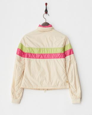 クリーム  ボーダー切り替えフード内蔵中綿入りジャケット見る