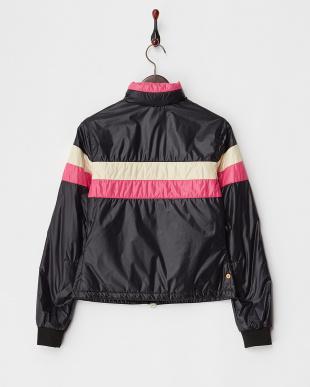 ブラック  ボーダー切り替えフード内蔵中綿入りジャケット見る