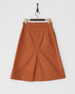 ブラウンAライン膝丈スカート見る