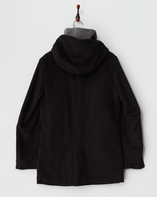 ブラック 着脱フード ウール混コート見る