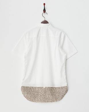 ホワイト×レオパード 裾切替え 半袖シャツ見る