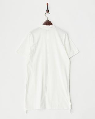 ホワイト  ロング丈ポロシャツ見る