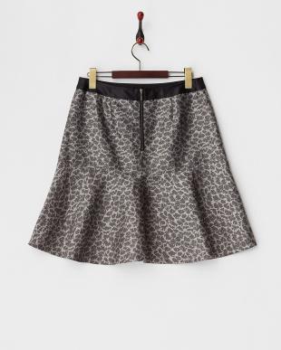 グレー ジャガードバックジップスカート(L)見る