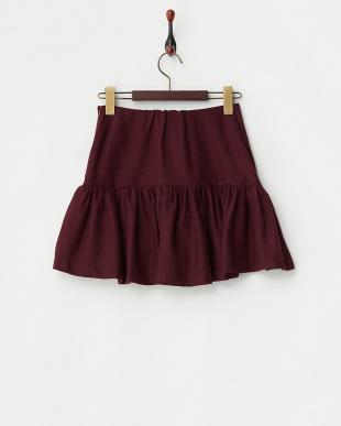レッドボリュームスカート見る