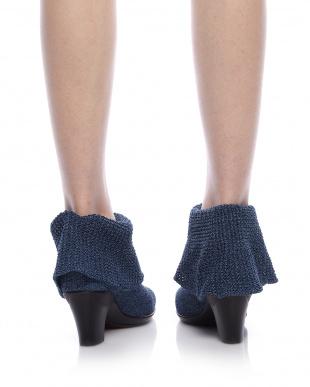 ダークブルー  ワッフル編みショートブーツ見る