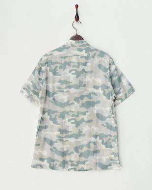 カモフラージュ 麻混 ダブルポケット半袖シャツ見る