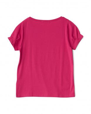 ピンク ビジュー装飾 袖タック入りカットソー見る