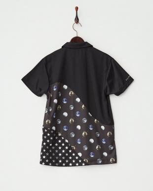ブラック  スペースドットポロシャツ見る