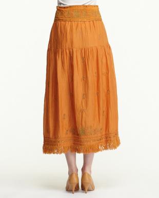 オレンジ ネイティブ刺繍 2wayスカート見る