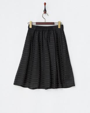 ブラック  ボーダーシフォンフレアスカート見る