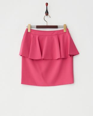 ピンク ペプラムタイトスカート見る