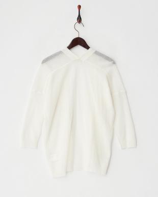 ホワイト  リネン混メッシュ編みサマーカーディガン見る