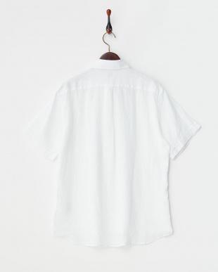 ホワイト  リネン ボタンダウン 半袖シャツ見る