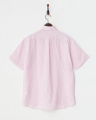 ピンク  リネン ボタンダウン 半袖シャツ見る