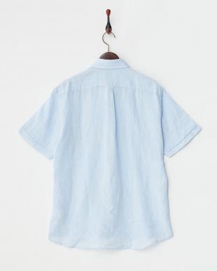 サックス  リネン ボタンダウン 半袖シャツ見る