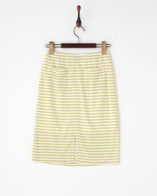 グリーンボーダータイトスカート見る