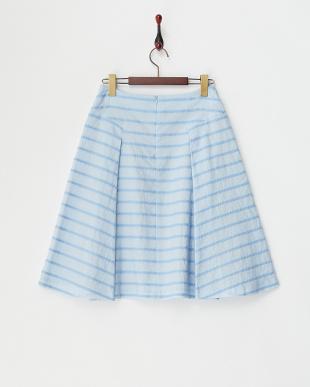 ライトブルー 編みブレードボーダースカート見る