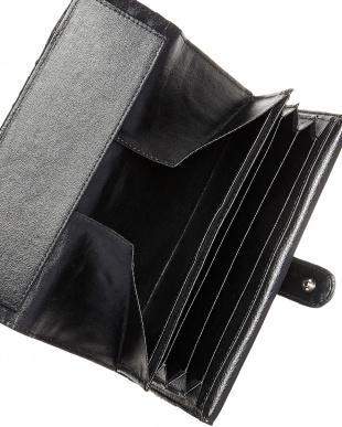 ブラック  パイソン2段階フラップ長財布見る