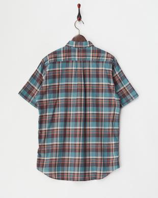 ターコイズ  マドラスチェック半袖シャツ見る