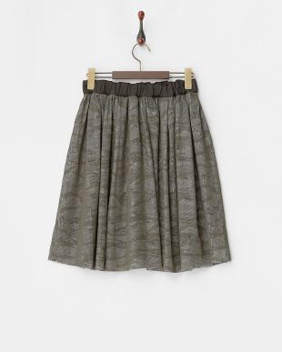 グレー  迷彩柄タックギャザースカート見る