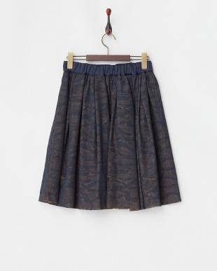 ネイビー  迷彩柄タックギャザースカート見る