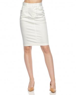 ホワイト  コットンサテンタイトスカート見る