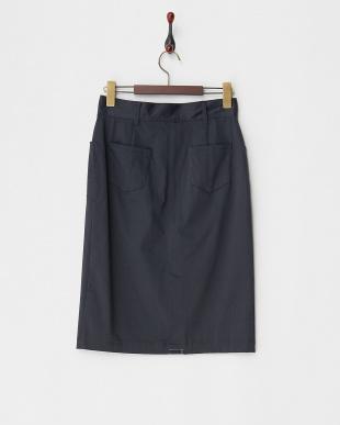 ネイビー  コットンサテンタイトスカート見る