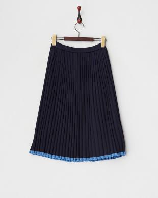 ネイビーラインニットスカート見る