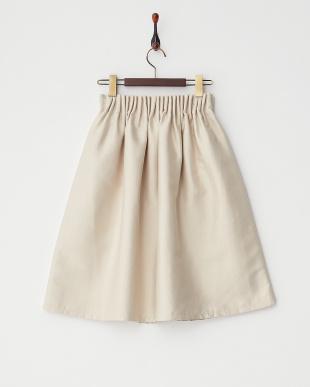 ベージュ  ウエストゴムギャザースカート見る