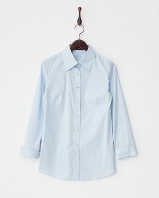 ブルー  ブロードシャツ見る