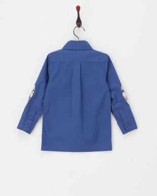 ブルー  プリント袖シャツジャケット見る
