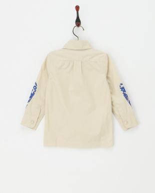 ライトベージュ  プリント袖シャツジャケット見る
