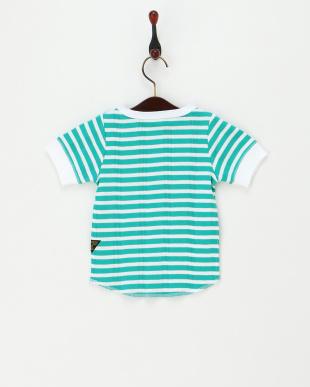 グリーン  針抜きリブボーダー柄Tシャツ見る