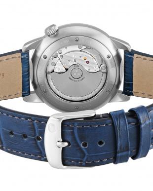 ネイビー  Flat Line 自動巻腕時計見る