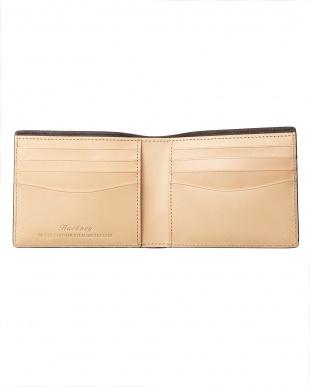 ブラック  クレイトン社製ブライドルレザー二つ折り財布(小銭入れなし)見る