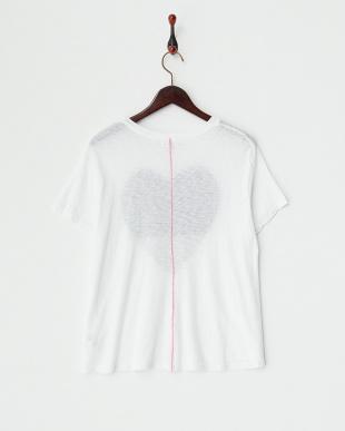 ホワイト ハートプリント スーピマスラブクルーネックTシャツ見る
