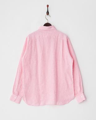 ピンク  リネンプルオーバーシャツ見る
