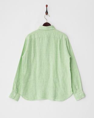 グリーン  リネンプルオーバーシャツ見る