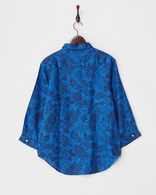 ブルー  トロピカル柄リネンシャツ見る